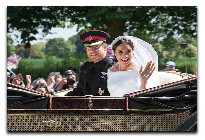 Smiling newlyweds Meghan and Prince Harry wave Canvas Print or Poster