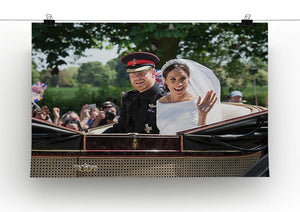 Smiling newlyweds Meghan and Prince Harry wave Canvas Print or Poster - Canvas Art Rocks - 2