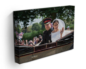 Smiling newlyweds Meghan and Prince Harry wave Canvas Print or Poster - Canvas Art Rocks - 3