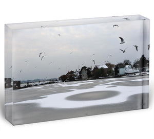 Snow Circles Acrylic Block - Canvas Art Rocks - 1