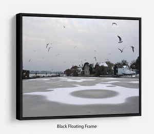 Snow Circles Floating Frame Canvas - Canvas Art Rocks - 1