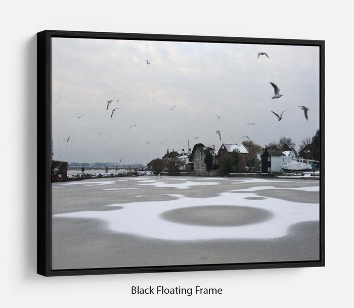 Snow Circles Floating Frame Canvas