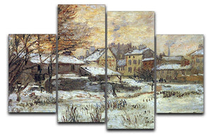 Snow at sunset Argenteuil in the snow by Monet 4 Split Panel Canvas  - Canvas Art Rocks - 1