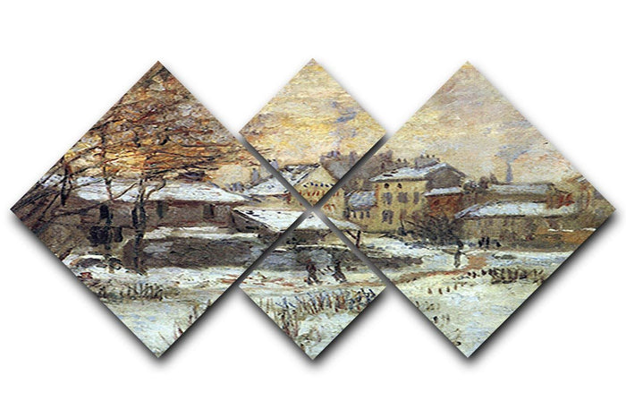 Snow at sunset Argenteuil in the snow by Monet 4 Square Multi Panel Canvas