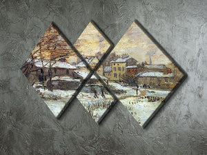 Snow at sunset Argenteuil in the snow by Monet 4 Square Multi Panel Canvas - Canvas Art Rocks - 2