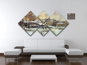 Snow at sunset Argenteuil in the snow by Monet 4 Square Multi Panel Canvas - Canvas Art Rocks - 3