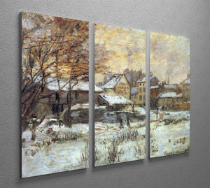 Snow at sunset Argenteuil in the snow by Monet Split Panel Canvas Print - Canvas Art Rocks - 4