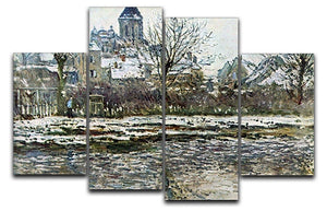 Snow in Vetheuil by Monet 4 Split Panel Canvas  - Canvas Art Rocks - 1