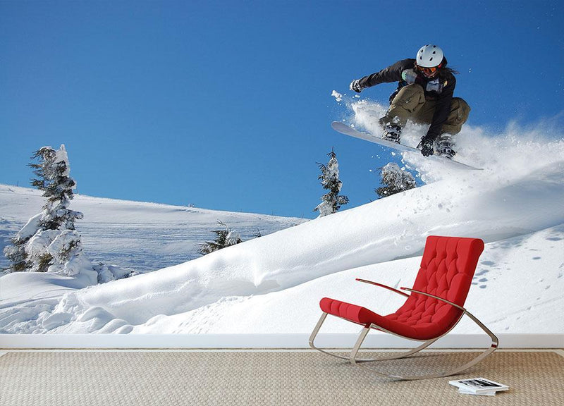 Snowboarder jumping from a cliff Wall Mural Wallpaper - Canvas Art Rocks - 1