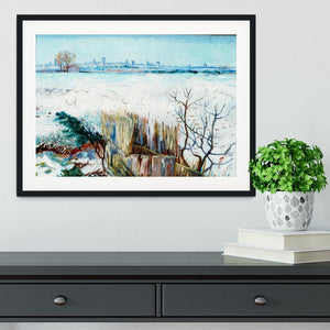 Snowy Landscape with Arles in the Background by Van Gogh Framed Print - Canvas Art Rocks - 1