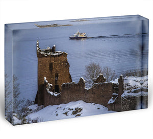 Snowy Urquhart Castle Acrylic Block - Canvas Art Rocks - 1