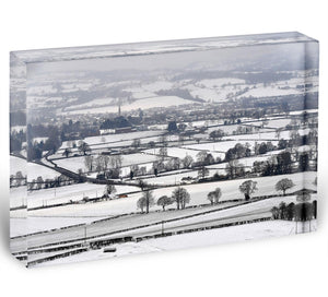 Snowy fields of Wales Acrylic Block - Canvas Art Rocks - 1