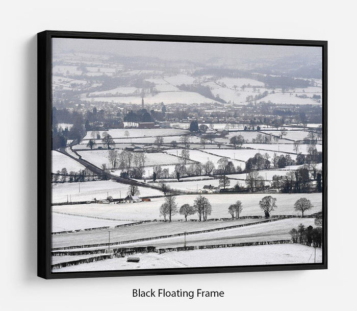 Snowy fields of Wales Floating Frame Canvas
