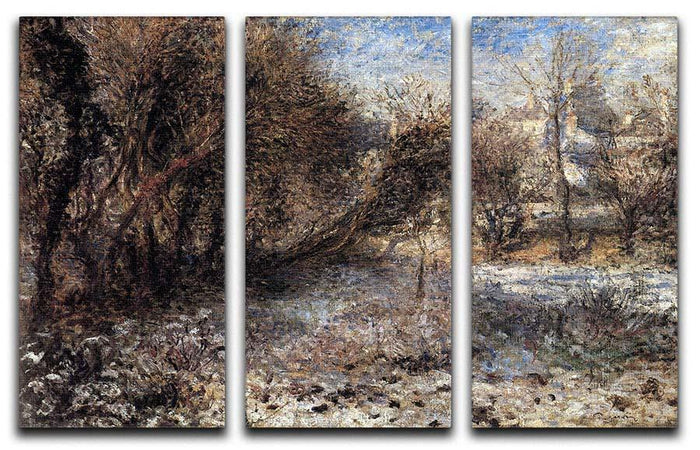 Snowy landscape by Renoir 3 Split Panel Canvas Print