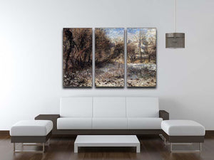 Snowy landscape by Renoir 3 Split Panel Canvas Print - Canvas Art Rocks - 3