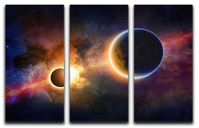 Solar Eclipse Nebula and Stars 3 Split Panel Canvas Print