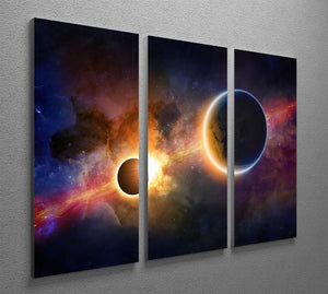 Solar Eclipse Nebula and Stars 3 Split Panel Canvas Print - Canvas Art Rocks - 2