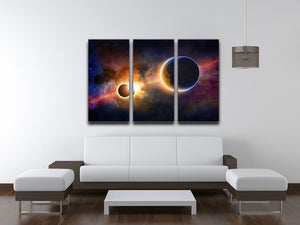 Solar Eclipse Nebula and Stars 3 Split Panel Canvas Print - Canvas Art Rocks - 3