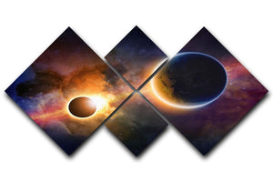 Solar Eclipse Nebula and Stars 4 Square Multi Panel Canvas  - Canvas Art Rocks - 1