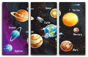 Solar system of planets 3 Split Panel Canvas Print - Canvas Art Rocks - 1