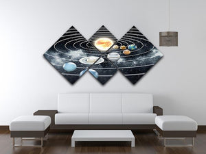 Solar system with eight planets 4 Square Multi Panel Canvas - Canvas Art Rocks - 3