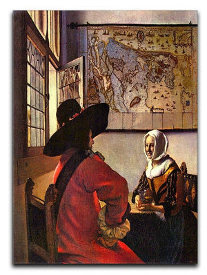 Soldier and girl smiling by Vermeer Canvas Print or Poster - Canvas Art Rocks - 1