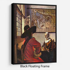 Soldier and girl smiling by Vermeer Floating Frame Canvas - Canvas Art Rocks - 1