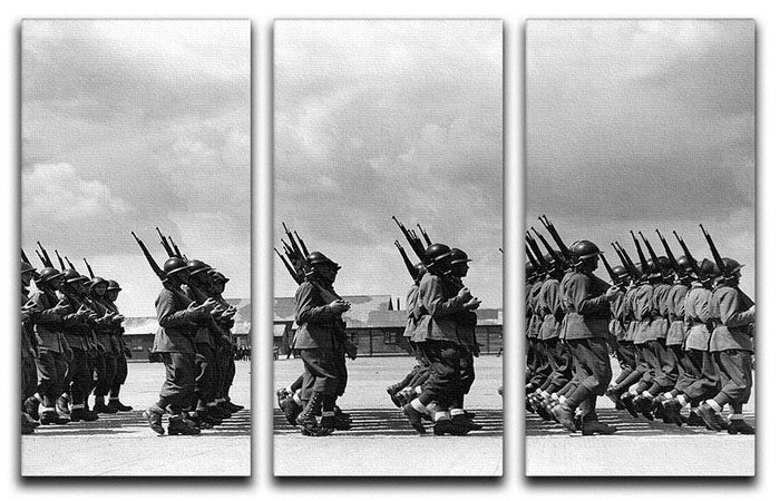 Soldiers marching in formation 3 Split Panel Canvas Print