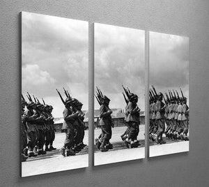 Soldiers marching in formation 3 Split Panel Canvas Print - Canvas Art Rocks - 2
