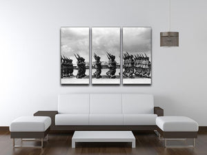 Soldiers marching in formation 3 Split Panel Canvas Print - Canvas Art Rocks - 3
