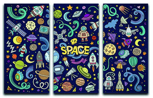 Space Doodles 3 Split Panel Canvas Print - Canvas Art Rocks - 1