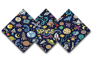 Space Doodles 4 Square Multi Panel Canvas  - Canvas Art Rocks - 1