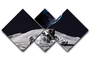 Space Man On The Moon 4 Square Multi Panel Canvas  - Canvas Art Rocks - 1