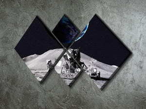 Space Man On The Moon 4 Square Multi Panel Canvas - Canvas Art Rocks - 2