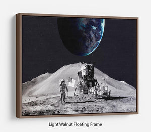 Space Man On The Moon Floating Frame Canvas