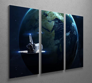 Space Shuttle Flying Back To Earth 3 Split Panel Canvas Print - Canvas Art Rocks - 2