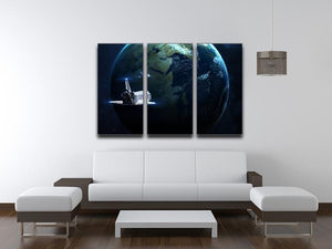 Space Shuttle Flying Back To Earth 3 Split Panel Canvas Print - Canvas Art Rocks - 3