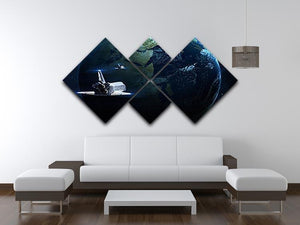 Space Shuttle Flying Back To Earth 4 Square Multi Panel Canvas - Canvas Art Rocks - 3