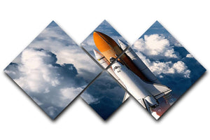 Space Shuttle Launch In The Clouds 4 Square Multi Panel Canvas  - Canvas Art Rocks - 1