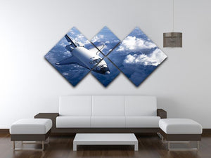 Space Shuttle in the Clouds 4 Square Multi Panel Canvas - Canvas Art Rocks - 3