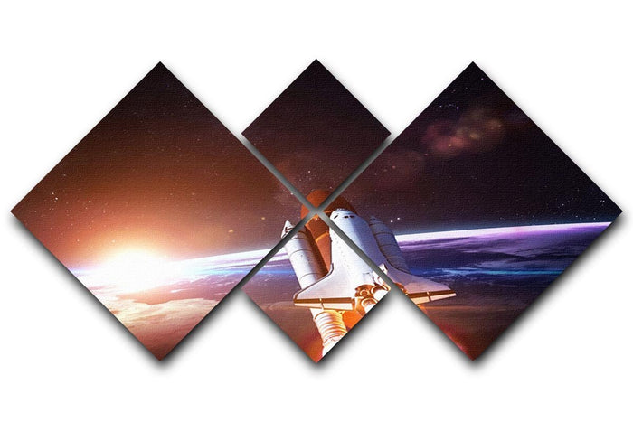 Space Shuttle over the Earth 4 Square Multi Panel Canvas