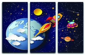 Space rocket launch and galaxy 3 Split Panel Canvas Print - Canvas Art Rocks - 1