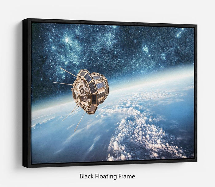Space satellite orbiting Floating Frame Canvas