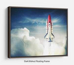 Space shuttle taking off on a mission Floating Frame Canvas