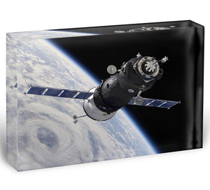 Spaceship Soyuz TMA at the Earth orbit Acrylic Block - Canvas Art Rocks - 1