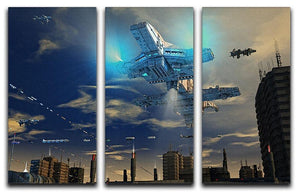 Spaceship UFO and City 3 Split Panel Canvas Print - Canvas Art Rocks - 1