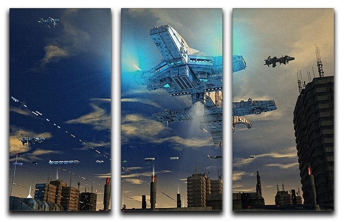 Spaceship UFO and City 3 Split Panel Canvas Print