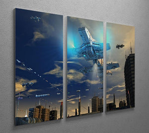 Spaceship UFO and City 3 Split Panel Canvas Print - Canvas Art Rocks - 2