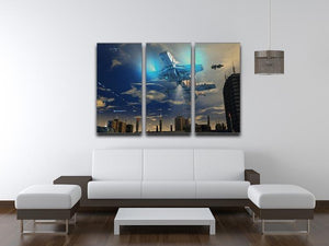Spaceship UFO and City 3 Split Panel Canvas Print - Canvas Art Rocks - 3