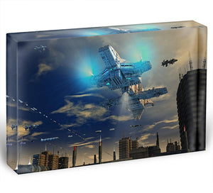 Spaceship UFO and City Acrylic Block - Canvas Art Rocks - 1